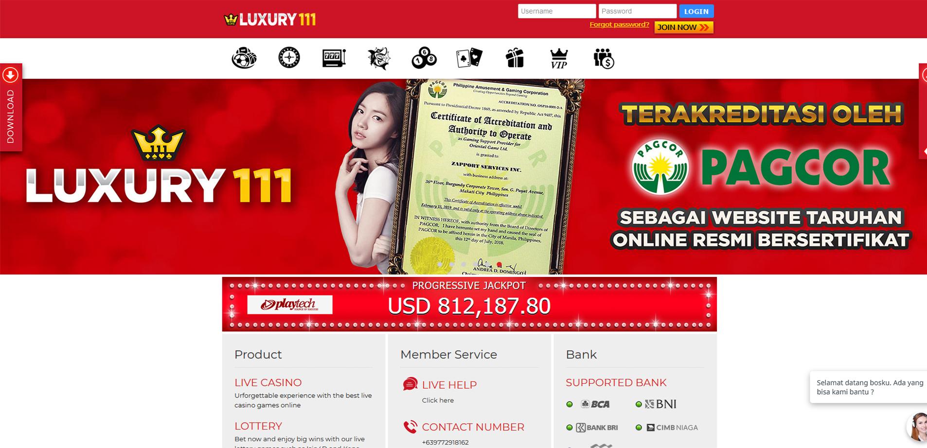 Luxury111 Agen Judi Online & Bandar Bola Online Terbesar